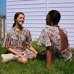TOPSHOP AUSTIN Floral Daisy Angel Sleeve Dress